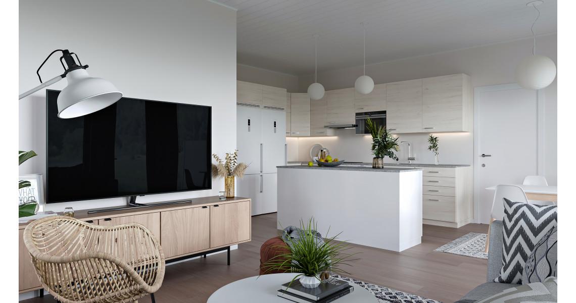 Kuvituskuva asunnon keittiöstä